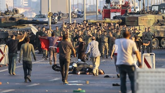 Groups of soldiers involved in the coup attempt in Turkey surrender on Istanbul's Bosphorus bridge with their hands raised on July 16, 2016 in Istanbul, Turkey.