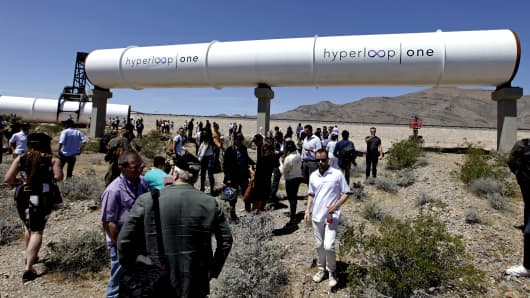 A Hyperloop tube is displayed during the first test of the propulsion system at the Hyperloop One Test and Safety site on May 11, 2016 in Las Vegas, Nevada.