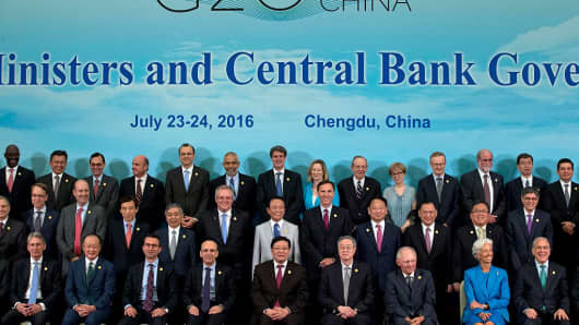 G20 Finance Ministers and Central Bank Governors pose during a group photo photo the G20 Finance Ministers and Central Bank Governors meeting on July 24, 2016 in Chengdu, China.