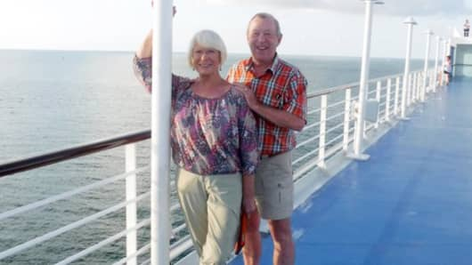 Willi and Jack Ross on their Oceania cruise ship during a 180-day voyage.