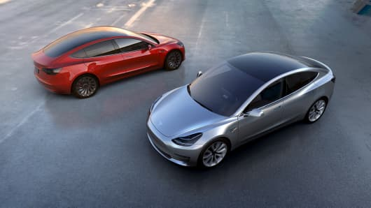 Tesla Motors' mass-market Model 3 electric cars are seen in this handout picture from Tesla Motors on March 31, 2016.