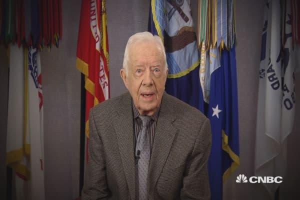 President Jimmy Carter endorses Hillary Clinton