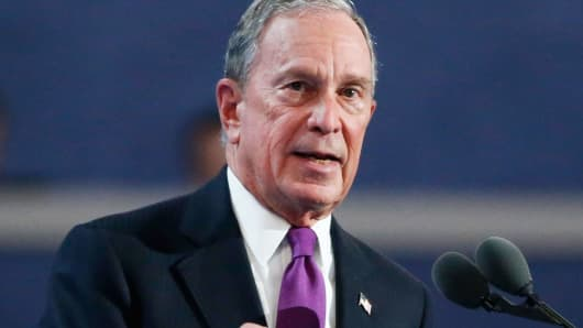 Former New York Mayor Michael Bloomberg speaks at the Democratic National Convention in Philadelphia, July 27, 2016.