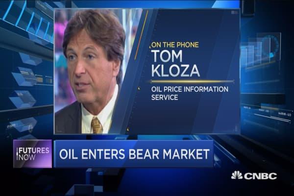 Oil nearing bear market