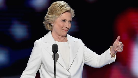 Democratic presidential nominee Hillary Clinton arrives on stage during the fourth and final night of the Democratic National Convention at Wells Fargo Center on July 28, 2016 in Philadelphia, Pennsylvania.