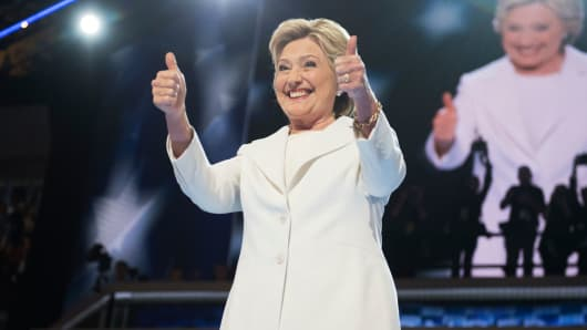 Democratic Presidential nominee Hillary Clinton arrives to address the crowd on the stage of the Wells Fargo Center in Philadelphia, on the final night of the Democratic National Convention, July 28, 2016.