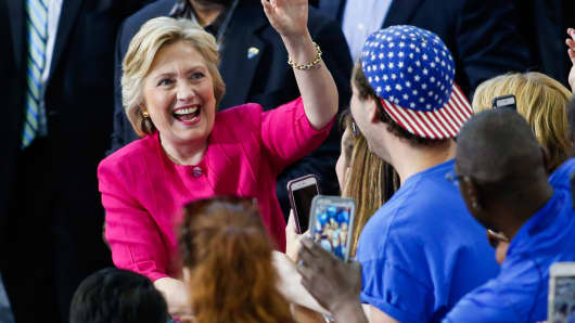 US Democratic presidential nominee Hillary Clinton with supporters during a rally in Philadelphia, on July 29, 2016.