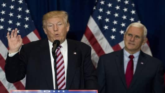 Donald Trump, 2016 Republican presidential nominee with Mike Pence, 2016 Republican vice presidential nominee.