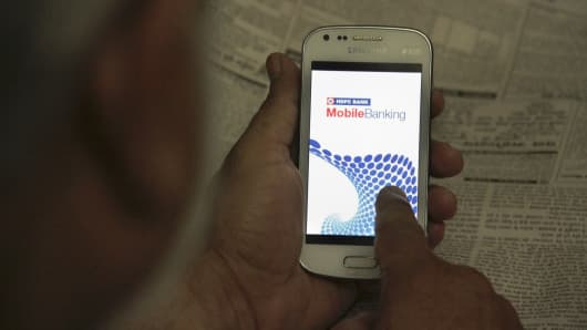 A mobile banking app displayed on a smartphone.