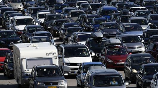 Cars in traffic, jam