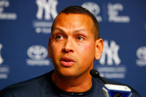 Alex Rodriguez speaks during a news conference on August 7, 2016 at Yankee Stadium in the Bronx borough of New York City. Rodriguez announced that he will play his final major league game on Friday, August 12 and then assume a position with the Yankees as a special advisor and instructor.
