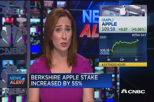 Berkshire Apple stake increased by 55%