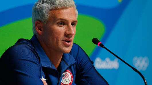 Ryan Lochte at a press conference in Rio.