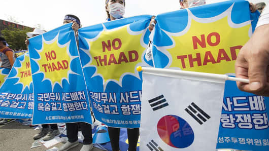 The U.S. Thaad missile is also controversial in South Korea where protests have been held against its deployment on Korean soil. Among concerns are safety fears about the system's powerful radar.