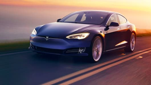 Pictured here is a Tesla Model S. Tesla's Model S P100D with Ludicrous mode will use the same basic Model S body, but will have 100 kW/h battery, the Ludicrous mode hardware and a different badge.