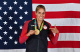 Elena Delle Donne #11 of the USA Basketball Women's National Team poses after winning the Gold Medal at the Rio 2016 Olympic games on August 20, 2016.