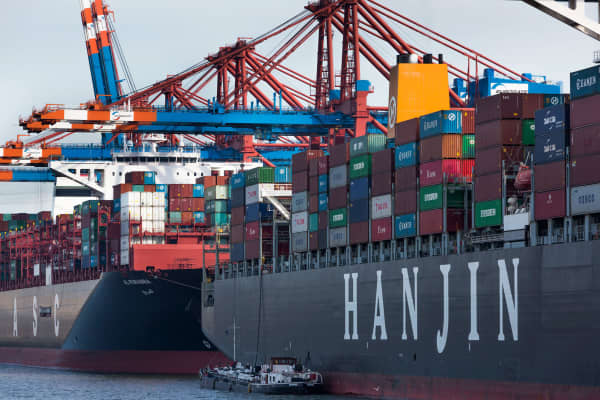 A file photo of a Hanjin container ship.