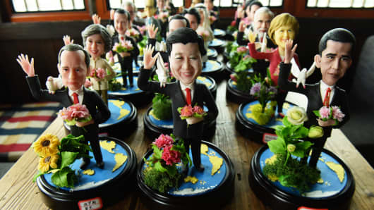 Figurines of G-20 country leaders made by folk artist Wu Xiaoli for the G-20 Hangzhou Summit.