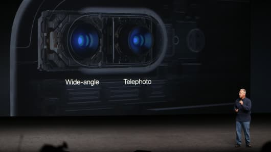 Phil Schiller, Senior Vice President of Worldwide Marketing at Apple Inc, discusses the camera on the iPhone7 during an Apple media event in San Francisco, California, U.S. September 7, 2016.