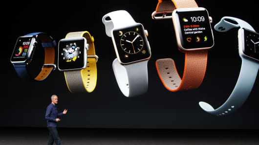 Apple Inc. COO Jeff Williams discusses the Apple Watch Series 2 during an Apple media event in San Francisco, California, U.S. September 7, 2016.