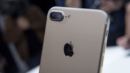 The dual cameras are seen on a Apple Inc., iPhone 7s during an event in San Francisco, California, U.S.,