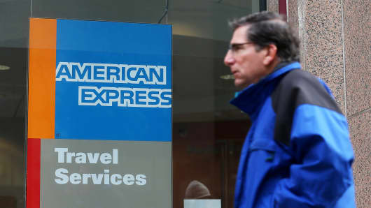 American Express profit falls 10%, tops estimates