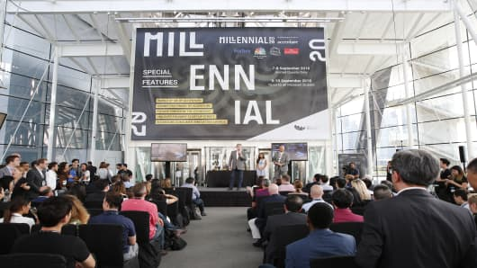 Startups are awarded during a ceremony at Millennial 20/20 in Singapore