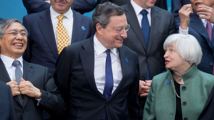 From left: Haruhiko Kuroda, governor of the Bank of Japan, Mario Draghi, president of the European Central Bank and Janet Yellen, chair of the U.S. Federal Reserve