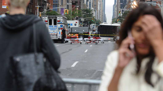 Authorities Examine Scene of New York City Explosion