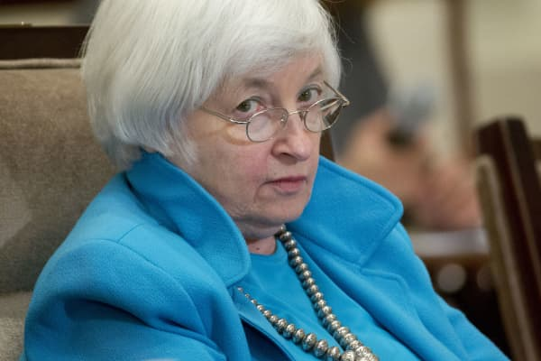 Janet Yellen, chair of the U.S. Federal Reserve, pauses while speaking during a meeting of the Board of Governors of the Federal Reserve in Washington.