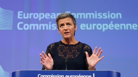 European Competition Commissioner Margrethe Vestager holds a news conference at EU Commission headquarters in Brussels, July 14, 2016.