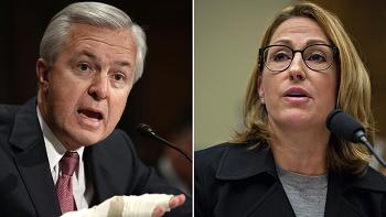 Wells Fargo CEO John Stumpf (l) and Mylan CEO Heather Bresch (r) testify in House Oversight and Government Reform Committee.