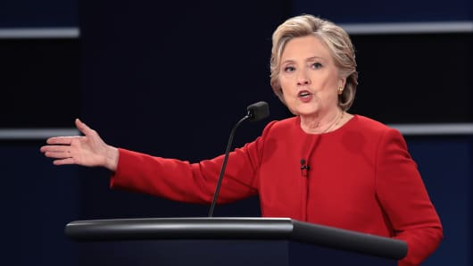 Democratic presidential nominee Hillary Clinton speaks during the Presidential Debate at Hofstra University on September 26, 2016 in Hempstead, New York.