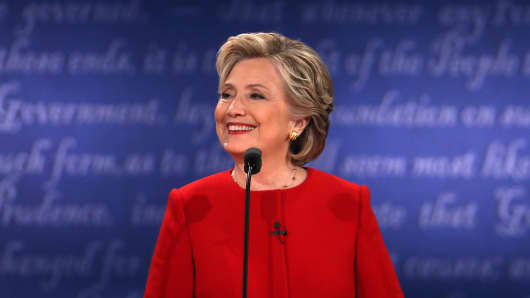 Democratic presidential nominee Hillary Clinton smiles during the Presidential Debate at Hofstra University on September 26, 2016 in Hempstead, New York.