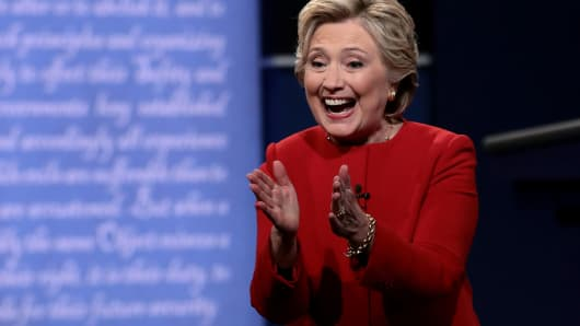 Democratic presidential nominee Hillary Clinton reacts after the Presidential Debate with Republican presidential nominee Donald Trump at Hofstra University on September 26, 2016 in Hempstead, New York.