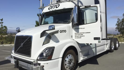 An Autonomous trucking start-up Otto vehicle is shown during an announcing event in Concord, California, U.S. August 4, 2016.