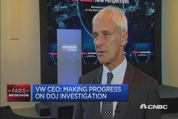 The DOJ is making a lot of progress: VW CEO