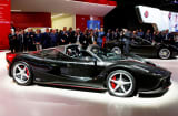 The new Ferrari LaFerrari Aperta is displayed on media day at the Paris auto show in Paris, France, September 29, 2016.