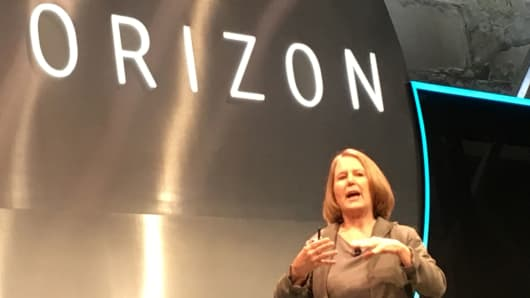 Google Cloud chief Diane Greene speaking on September 29, 2016
