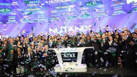 Nutanix IPO celebration at the Nasdaq market site in New York, September 30, 2016.