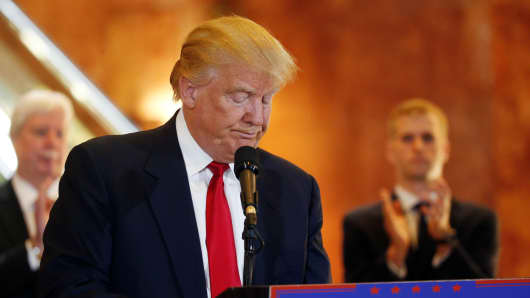 Republican presidential candidate Donald Trump addresses the media regarding donations to veterans foundations at Trump Tower in Manhattan, New York, U.S., May 31, 2016.