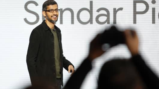 Google CEO Sundar Pichai takes the stage during the presentation of new Google hardware in San Francisco, California, U.S. October 4, 2016.