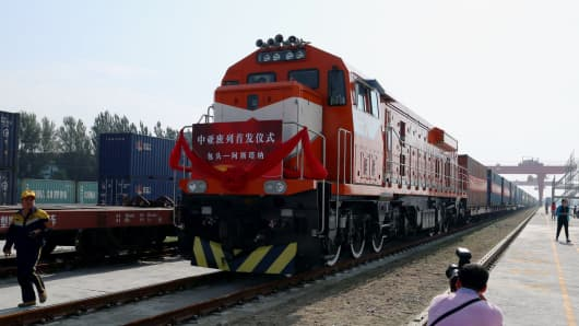 A train in Astana, Kazakhstan, that's part of a service linking northern China's Inner Region with Kazakhstan.