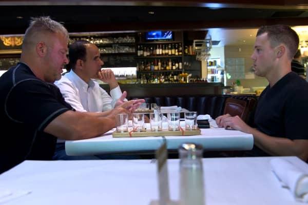 Marcus Lemonis meets with Tea 2 Go founder Jeff Hunt (left) and Tea 2 Go VP Taylor Logan.