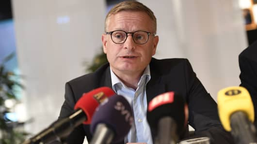 Ericssons CEO Jan Frykhammar speaks during a news conference on October 4, 2016 at the company's head office in Stockholm, Sweden.