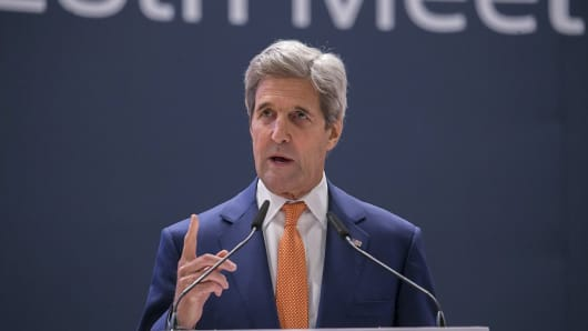 United States Secretary of State, John Kerry delivers a speech during the 28th meeting of the Parties to the Montreal Protocol in Kigali, Rwanda on October 14, 2016.