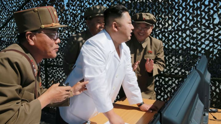 North Korean leader Kim Jung Un supervises a demonstration of a new rocket engine for the geo-stationary satellite at the Sohae Space Center n this undated photo released by North Korea's Korean Central News Agency (KCNA) in Pyongyang September 20, 2016.