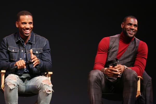 "LeBron James, right, and Maverick Carter participate in a Q and A after the premiere of the STARZ original series ""Survivor's Remorse"" in Los Angeles."