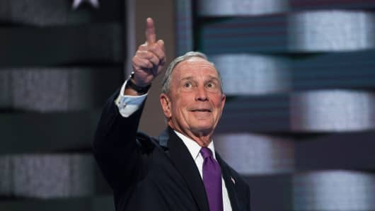 Michael Bloomberg appears on stage at the Wells Fargo Center in Philadelphia, Pa., after the VP spoke on the third day of the Democratic National Convention, July 27, 2016.