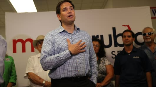 Florida Sen. Marco Rubio, R-Fla, speaks to supporters as he stops to thank volunteers at a phone bank on the final day before the Florida primary election on Aug. 29, 2016 in Miami.